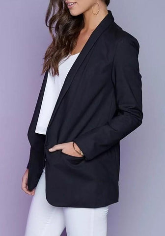 Black Plain Pockets Tailored Collar Long Sleeve Suit
