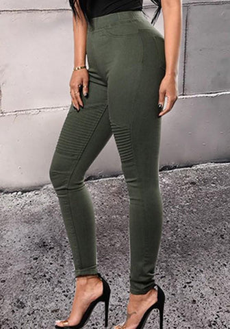 Army Green Cascading Ruffle Elastic Waist Fashion Long Pants