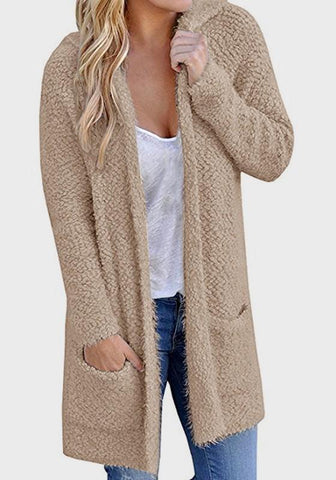 Khaki Pockets Hooded Plunging Neckline Long Sleeve Cardigan Coat