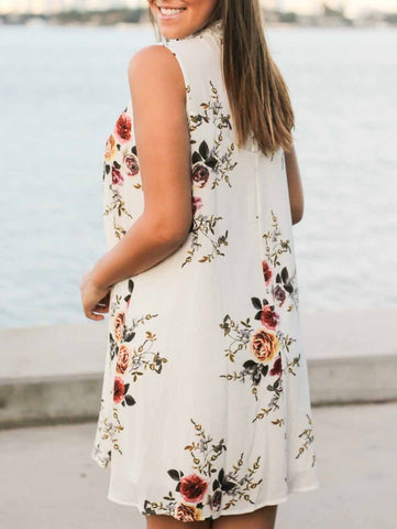 Fashion Open Work Little Floral Print Dress