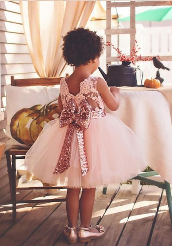 Pink Patchwork Sequin Lace Bow Round Neck Children Midi Dress