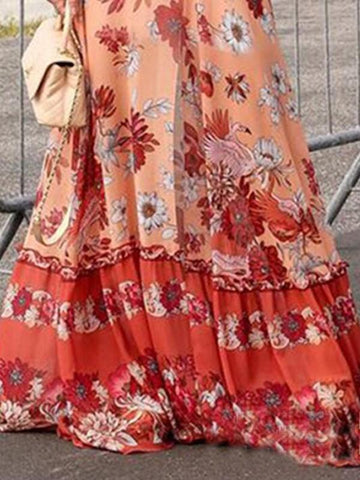 New Orange Floral Draped Lace Deep V-neck Lantern Sleeve Flowy Bohemian Maxi Dress