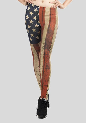 Red-Beige Striped Star American Flag Print Yoga Sports Long Legging