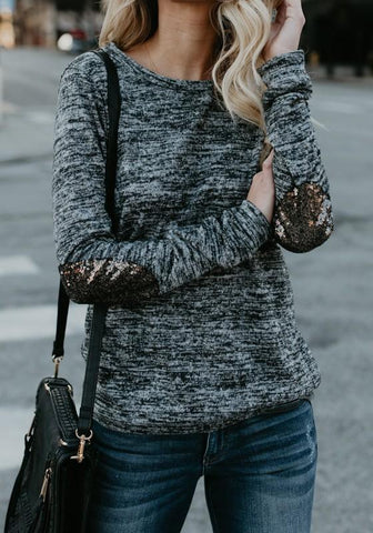 Blue Patchwork Sequin Round Neck Long Sleeve T-Shirt