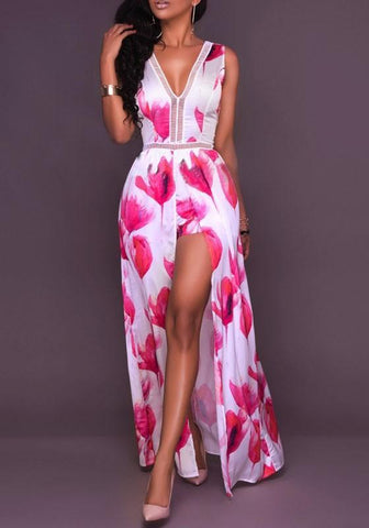 Red-White Flowers Print Tie Back Backless Short jumpsuit With Maxi Overlay