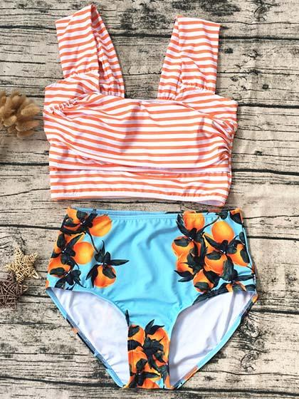 Cute Halter Striped Floral Tank High Waist Bikini Set