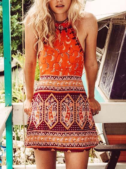 Boho Orange Floral Print Halter Mini Dress