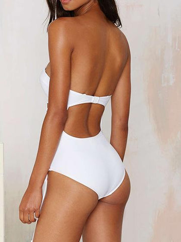 Solid Tie One-piece Push Up Swimsuit