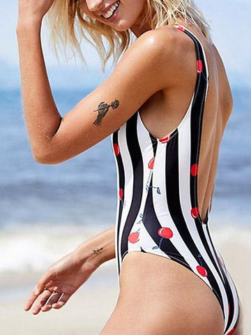 Mono Stripes Red Cherry Backless One-piece Swimsuit