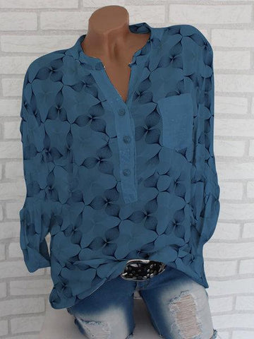 New Abstract Elegant Chiffon Stand Collar Blouses