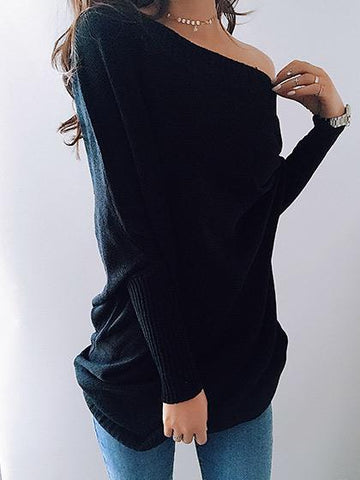 Stylish Off Shoulder Solid Color Long Sleeve Black Top
