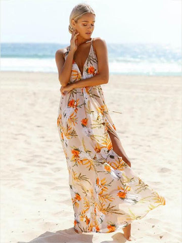 Floral V-neck Backless Split-side Maxi Dress