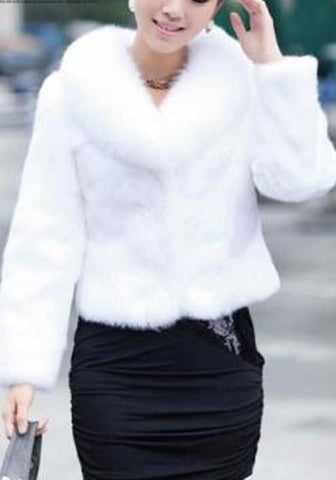White Faux Fur Long Sleeve Fur Collar Fashion Coat