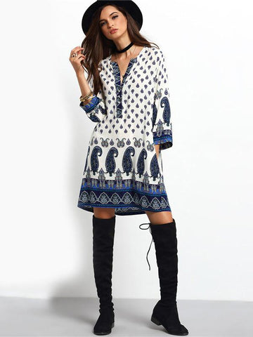 Beautiful Bohemia Long Sleeve V Neck Mini Dress
