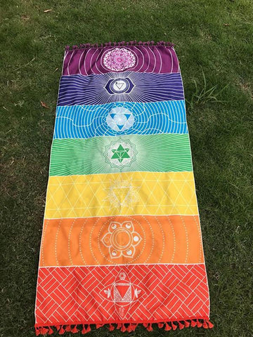 Unique Rectangle Rainbow Summer Beach Mat Yoga Mat