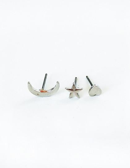 Minimalist Moon Star Heart Style Earrings Set