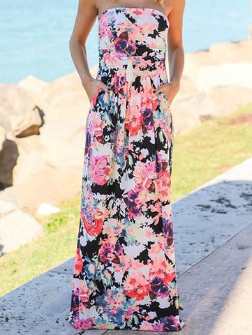 Go Lucky Bohemian Style Chic Floral Print Black Dress