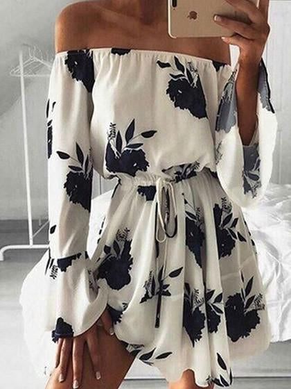 Walk My Way Off The Shoulder Floral Print Dress
