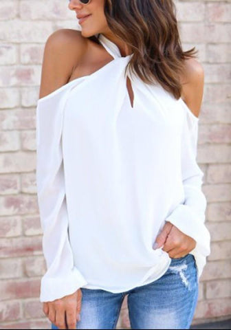 White Cut Out Off Shoulder Halter Neck Chiffon Oversized Casual Blouse