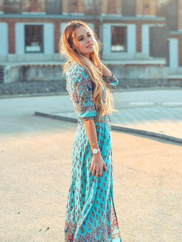 Pretty Bohemia Floral V Neck Half Sleeve Front Split Maxi Dress