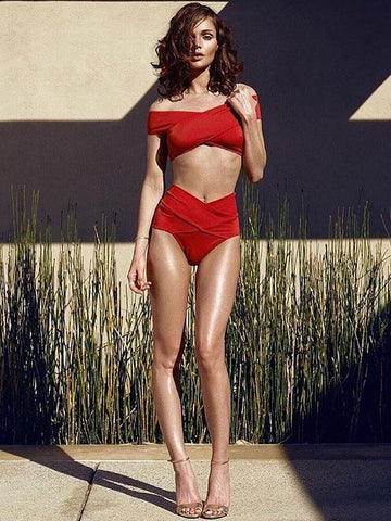 Red Off-the-shoulder Two-pieces Bikini Swimwear