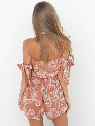 Bohemia Floral Off-the-shouder Bowknot Romper
