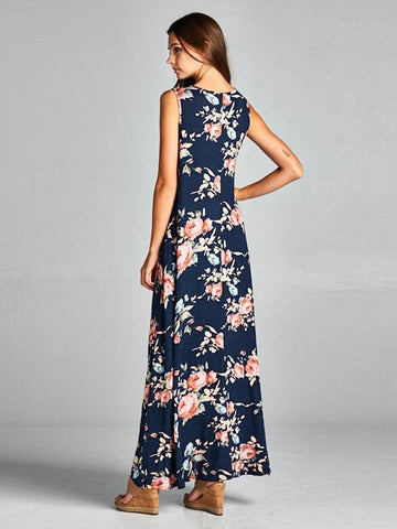 Asymmetry Floral Maxi Dress