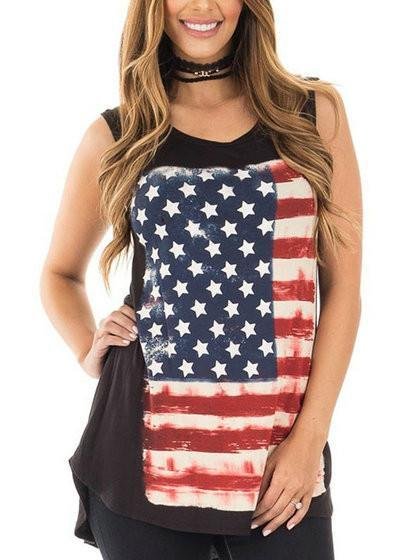American Flag Independence Day Casual Top