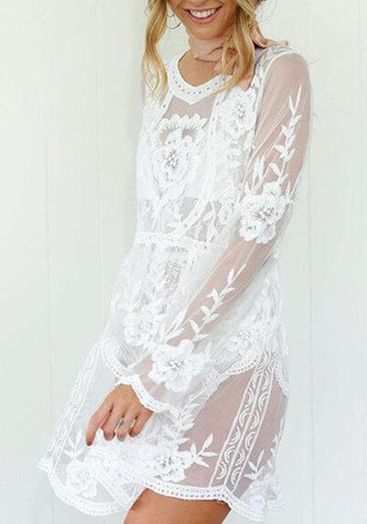 White Patchwork Grenadine Pleated Embroidery Sheer Bikini Cover Up Long Sleeve Midi Dress