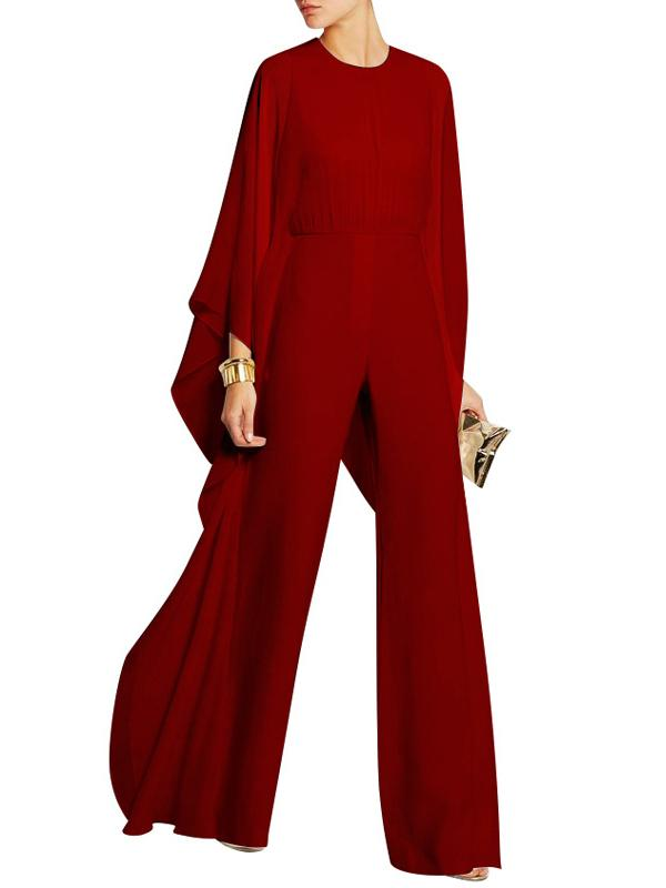 Chiffon Solid Color Split-joint Loose Long Jumpsuits
