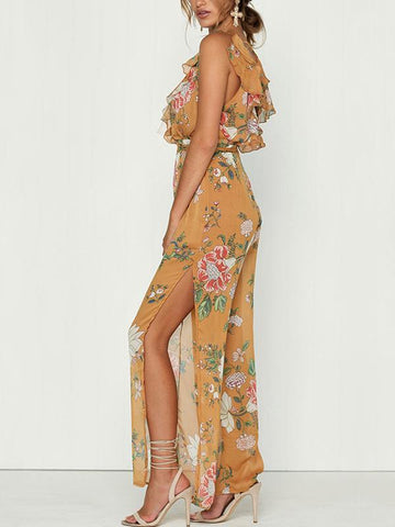 Pretty V Neck Floral Split-side Wide Leg Long Jumpsuits