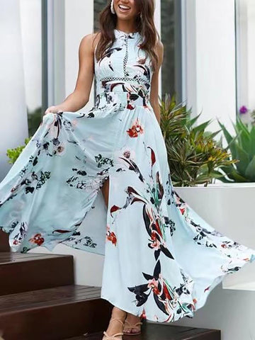 Bohemia Floral Halterneck Backless Split-side Maxi Dress