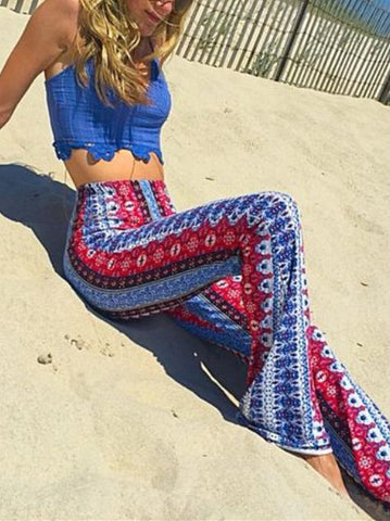 Bohemia Printed Bell-bottoms Casual Pants