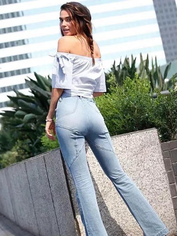 Fashion Five-pointed Star Bell-bottoms Jean Pants Bottoms