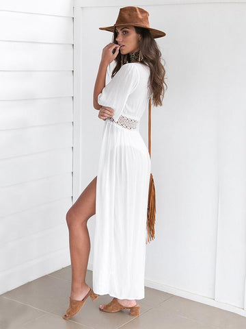 Beautiful Chiffon Split Joint Deep V Neck Half Sleeve Cover-Ups