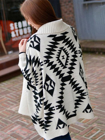 Fashion Printed Batwing Sleeves Loose  Cardigan Tops