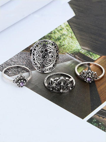 4pcs Carving Hollow Rings Flower Accessories