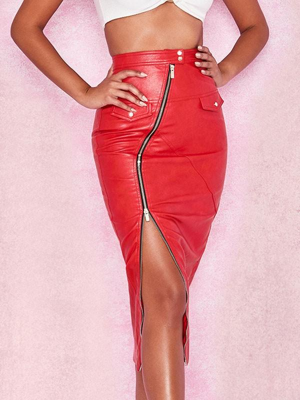 New Red Buttons Zipper Irregular Bodycon Latex Vinly Patent Rubber Clubwear Party Skirt
