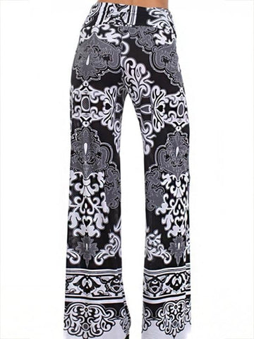 Fashion Floral Big Hem Wide Leg Bottom Casual Pants