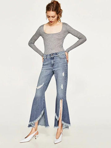 Fashion Raw Edges Bell-bottoms Jean Pants Bottoms