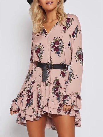 Pretty Floral Falbala Mini Dress