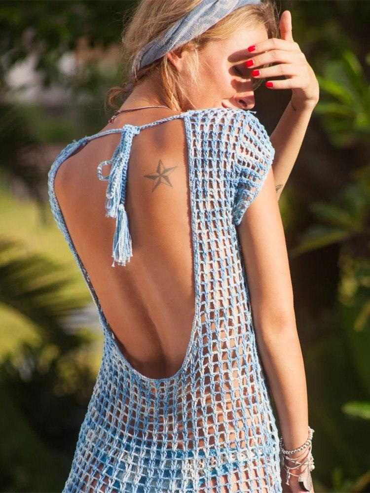 Pretty Knitting Hollow Backless Beach Dress