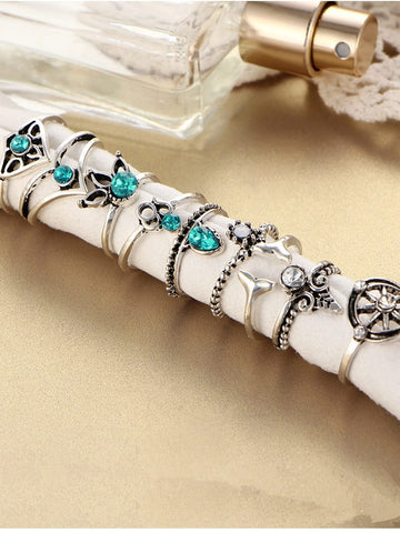 9PCS Vintage Leaf&Beads Rings Accessories