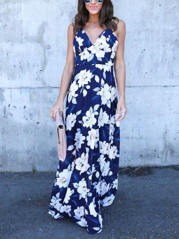 Printed Backless Bohemia Maxi Dress