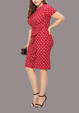 Red-White Polka Dot Ruffle Bodycon Plus Size Round Neck Elegant Party Midi Dress
