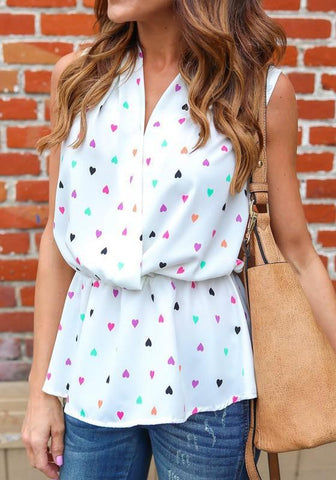 White Love Print V-neck Sleeveless Fashion Slim Blouse
