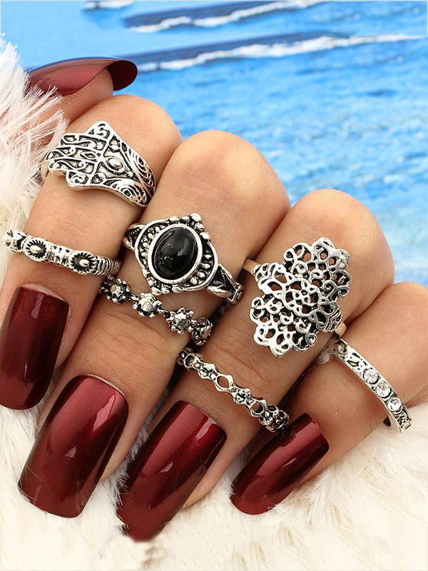 6pcs Vintage Carved Hollow Rings Accessories