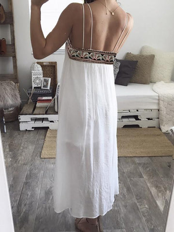 Chiffon Embroidered Split-side Spaghetti-neck Maxi Dress