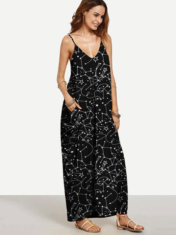 Popular Black Bohemia Spaghetti Straps V Neck Maxi Dress