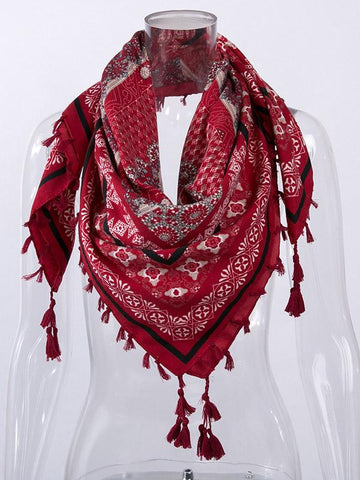 Fashion Floral Tasseled Scarf